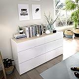 LIQUIDATODO  - Comoda de 6 cajones 120 cm moderna y barata en blanco brillo y natural