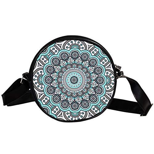 Bandolera redonda pequeña bolso de mano para mujer, bolso de hombro de moda, bolso de mensajero de lona, bolsa de cintura, accesorios para mujer, mandala india psicodélico, gris henna