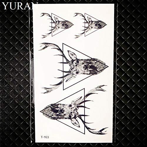 HXMAN 5pcs Geometrische Elch Elch Pfeil Temporäre Tattoo Panda Frauen Hand Tatoo Aufkleber Dreieck Wolf Körper Arm Kunst Wasserdicht Tattoo Männer Hirsch GT163