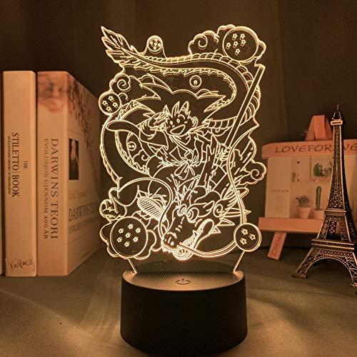 Luz de Noche 3D Anime Ilusión Lámparas de decoración LED 3D Lámpara de Regalo para Luz de Dormitorio Sensor táctil LED Lámpara de EscritorioJoven goku