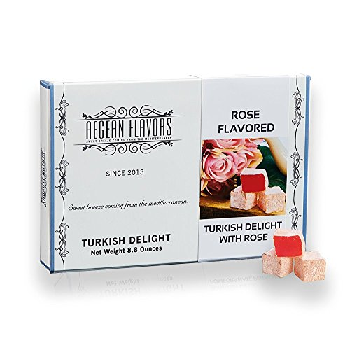 Turkish Delight with Rose - Sweet Confectionery - Gourmet Gift Box Candy Dessert 8.8 oz