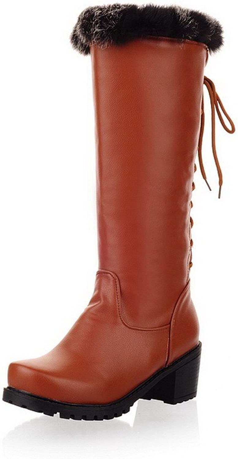 QueenFashion Women's Glitter Match High Boots with Lace-up