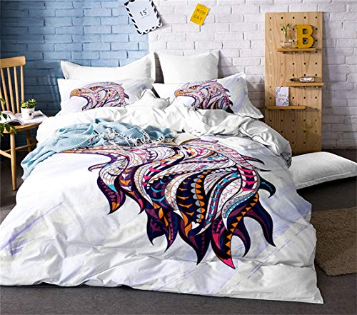 Bedding Set - Microfiber Duvet Cover and Pillow Case - Zippered Duvet Cover Set - Eagle (white,King(220x230cm))