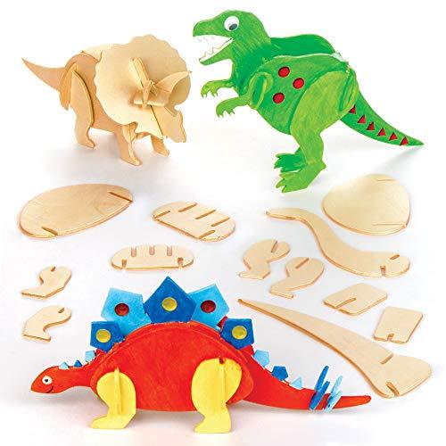 Baker Ross Dinosaurier-Kit für Kinder, 3D-Woodcraft-Kits für Kinder zum Basteln und Dekorieren (5er-Pack)