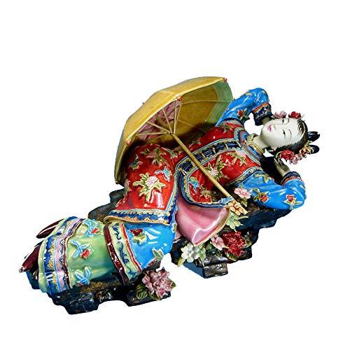 YNJZ Skulptur Antike Statuen zur Dekotation Chinesisches Schönheitshandwerk Sammlerstücke Vintage Porzellanfigur Figur