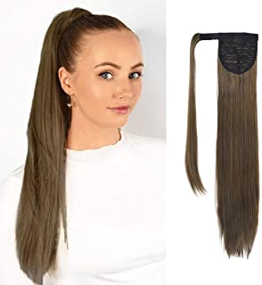 SEIKEA Clip in Ponytail Extension Wrap Around Long Straight Hair Extension 28 Inch Synthetic Hairpiece - Light Ash Brown