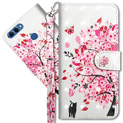 MRSTER Huawei Y5 2018 Handytasche, Leder Schutzhülle Brieftasche Hülle Flip Hülle 3D Muster Cover mit Kartenfach Magnet Tasche Handyhüllen für Huawei Y5 2018 / Honor 7S. YX 3D - Tree Cat