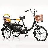 ZCYY Bicicleta de Tres Ruedas 20 Pulgadas Triciclo para Adultos Cesta de Carga Triciclo Bicicleta Bicicleta para Compras Picnic Deportes al Aire Libre Hombres Mujeres (Color: Negro)