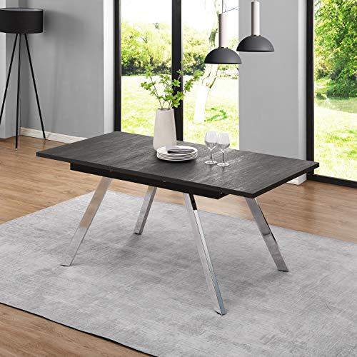 B&D home - Esstisch ausziehbar, Ausziehtisch, Esszimmertisch, Küchentisch, Speisentisch, in Optik Eiche geräuchert anthrazit, mit verchromten Beinen, 120-160 x 80 cm