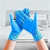 Homthing 100 Stück Nitril-Latex-Handschuhe Einweg-Latex-freie puderfreie Hände Schutzelastische Handschuhe Blau-L.