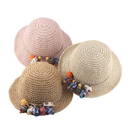 Enfants Chapeau De Paille Décoration Soleil Protection Réglable Chapeau Large Bordure Visière Été Chapeau Tissé D'été Pour La Plage