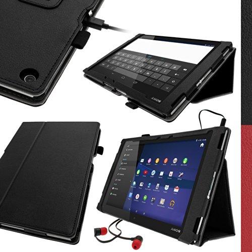 iGadgitz U2880 PU Leder Tasche Kompatibel mit Sony Xperia Z2 Tablet SGP511 mit Schutzfolie - Schwarz