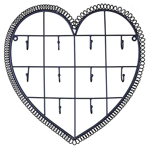 L'Héritier Du Temps Applique Murale Motif Coeur Patiné Noir Porte Clés Clefs 10 Crochets en Fer 3x34x35cm