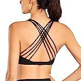 CRZ YOGA Strappy Sports Bras for Women Cross Back Sexy Padded Yoga Bra Tops Cute Activewear Black Medium