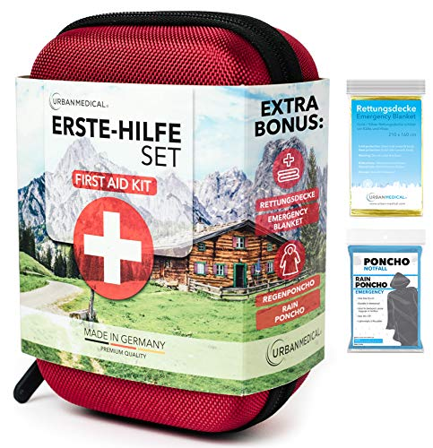 URBAN MEDICAL Premium Erste Hilfe Set aus Deutschland DIN 13167 + Regenponcho + Rettungsdecke | Camping Sport Reisen