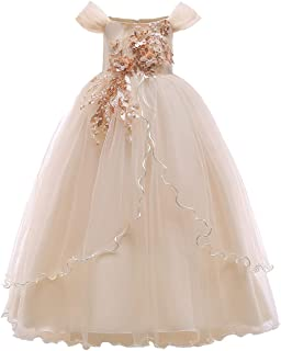 Kids Girl Off Shoulder Embroidery Flower Tulle Long Pageant Dress Wedding Birthday Party First Communion Formal Dance Gown