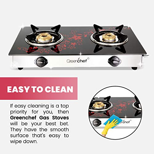 GREENCHEF Crystal Plus 2 Burner Glass Gas Stove (Black , Red), Manual