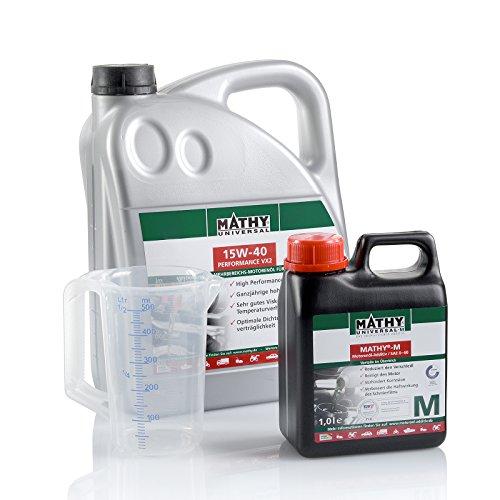 MATHY motorolie en reiniger voor de motor benzine- en dieselolie verversingsset SAE 15W-40 Performance VX2