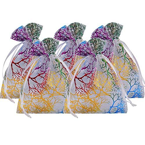 Egurs 100 Stück Korallenmuster Organzabeutel Schmuckbeutel Organzasäckchen Taschen Hochzeit Säckchen Geschenktüten Weiß 7x9cm