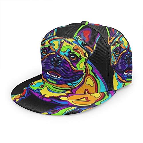 Men's Women's Adjustable Snapback Hats Breathable Trucker Sun Hat Fashion Hip-Hop Flat Bill Baseball Caps, Colorful French Bulldogs Black