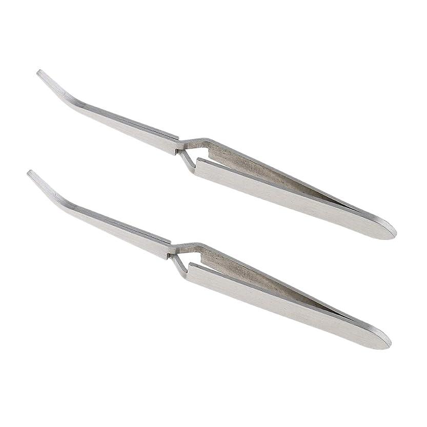 改修イタリアの泣き叫ぶ2個 ステンレス鋼 Cカーブ マニキュア 爪 ピンセット 修復 クランプ 爪 に適う 爪 アート ラインストーン ピッキング デコレーション クリッピング