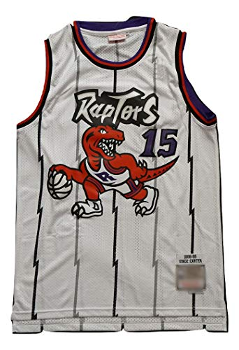 WOLFIRE WF Maglietta da basket da uomo, NBA, Toronto Raptors #15 Vince Carter #1 Tracy McGrady ricamato, traspirante e resistente all'usura, maglietta per Fan Hardwood Classics (C, Bianco, L)
