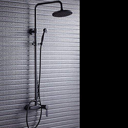 CENPEN Grifo acabado negro doble mano baño ducha conjuntos de montaje en pared grifo de ducha con barra deslizante expuesta grifo de ducha H9754, negro