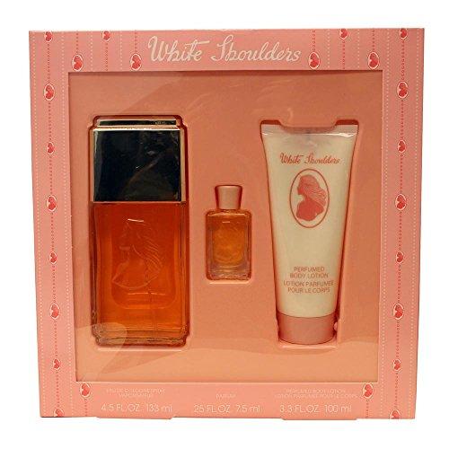 White Shoulders For Women by Evyan 3 Pc. Gift Set (Eau De Cologne Spray 4.5 oz + Body Lotion 3.3 oz + Parfum 0.25 oz)