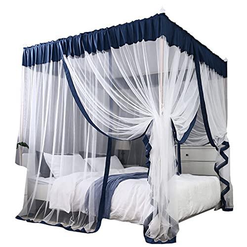 Cortinas con dosel de cama, diseño de princesas con volantes y 4 postes de esquina, dosel de cama para niñas y adultos de 2 m