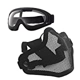 Anyoupin Airsoft Mask and Goggles Set Adjustable Metal Steel Mesh Half Face Mask with Ultra-Violet Protective Outdoor Glasses Goggles for Paintball Shooting Cosplay War Game Black & Goggles