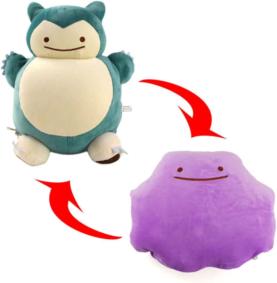 LRBHSH Peluches Reversibles, Snorlax & Ditto Plushies para Niños, Adultos Y Fanáticos del Anime, Kawaii Cushion Pillow Stuffed Animals Doll Figure