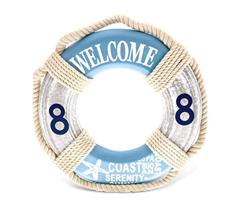 CoTa Global Aqua Sky Boat Life Ring Front Door Welcome Plaque Sign, 9.5' Decorative Wall Decoration Wooden Art Handcrafted Decor Nautical Coastal Beach Theme Home Accent Accessory