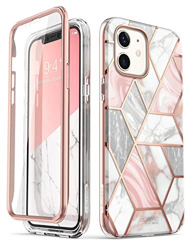 i-Blason Cosmo Series Designed for iPhone 12 Mini Case (2020), Slim Full-Body Stylish Protective Case with Built-in Screen Protector, Marble