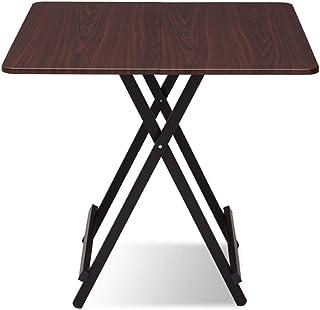 Table de Salle à Manger de Table de Pliage Accueil Portable en Bois Massif Bureau carré Balcon Jardin Jambes de métal (Col...
