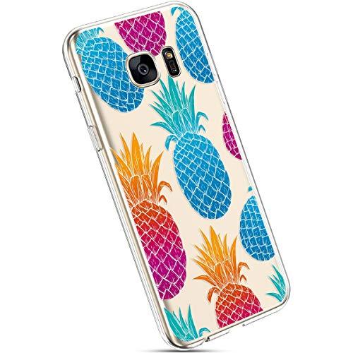 Ysimee Hülle kompatibel mit Samsung Galaxy S7 Handyhülle, Transparent Weiche Silikon Schutzhülle Muster Blumen [Crystal Klar] TPU Bumper Dünne Stoßfeste Protective Hülle, Bunte Ananas