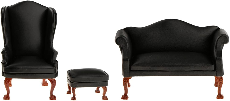 Homyl 1 12 Dollhouse Miniatures Furniture Black PU Leather Couch Single Sofa Kit