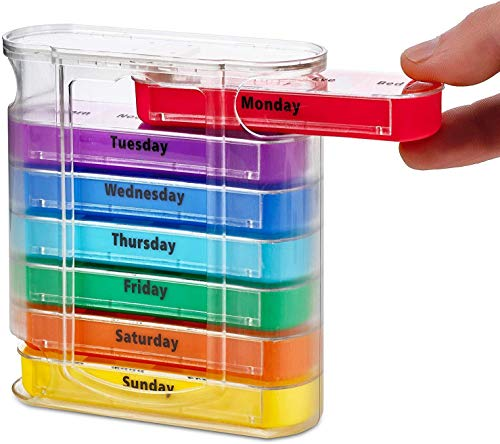 ASEDRF Weekly Pill Organizer, Four Times-A-Day, 1 Dispenser with Stackable AM/PM Compartments for Vitamin Fish Oil Aspirin Supplements