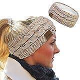 Loritta Womens Ear Warmers Headbands Winter Warm Fuzzy Cable Knit Head Wrap Fleece Lined Gifts,Beige