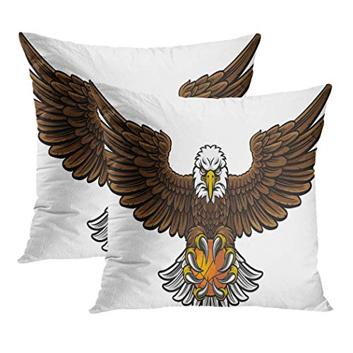 Y·JIANG An Eagle Angry - Funda de cojín, diseño de una pelota de baloncesto en sus garras de terciopelo suave, cuadrada, funda de cojín para sofá y silla, 45 x 45 cm, juego de 2
