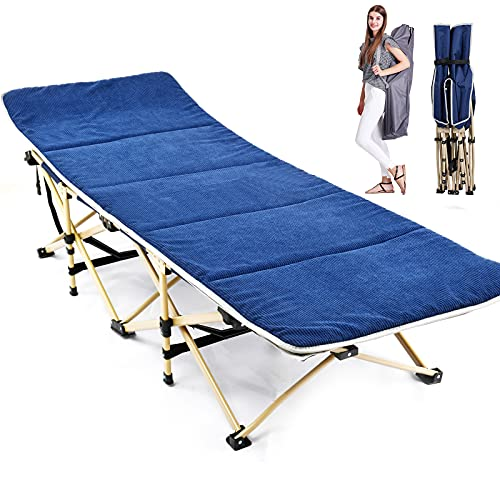 Folding Camping Cots for Adults, Folding Cots Heavy Duty Wide Sleeping Cots with Carry Bag, Portable Travel Camp Cots Foldable Bed Military Cot (Blue with Corduray Mat)