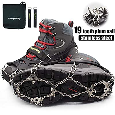 Ice Cleats Crampons Traction Snow Grips for Adults or Kids Boots Shoes, Anti-Slip Stainless Steel Spikes & Durable Silicone Safe Protect for Hiking Climbing