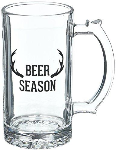 Man Crafted Beer Season Deer Antler Large Glass Beer Stein, 16 oz, Clear