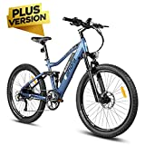 eAhora AM100 Plus 27.5 Inch 48V Mountain Electric Bicycle Dual Hydraulic Brakes Electric Bikes for Adults, Air Full Suspension 350W EBikes Removable Lithium Battery, Recharge System, 9-Speed Gear