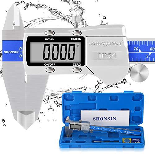 "SHONSIN Absolute Scale Digital Caliper, 6""/150mm Caliper Measuring Tool, 0.0005""/0.01mm Resolution, IP54 Waterproof Stainless Steel Micrometer Vernier Caliper, Large LCD, Extreme Accuracy"