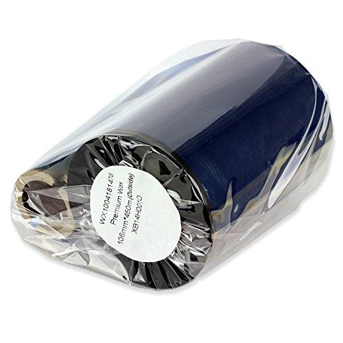 1PK WX1004331476 OfficeSmartLabels Black [ 4.33 x 1476 ] Premium Performance Thermal Wax Ribbon, Compatible with Zebra Printers - 1 Core