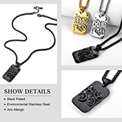 Rotatable Gear Mechanical Style Dog Tag Necklace For Men, Steampunk Style, Wheat Chain(55CM+5CM), Black Plated Stainless Steel Military Jewellery Army Card Pendant Necklace (Gift Packaging), RP20111H #3