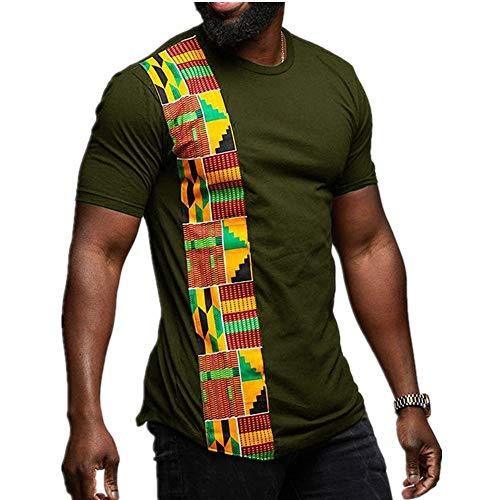 Summer New - Camiseta de cuello redondo para hombre, diseño de rayas verticales