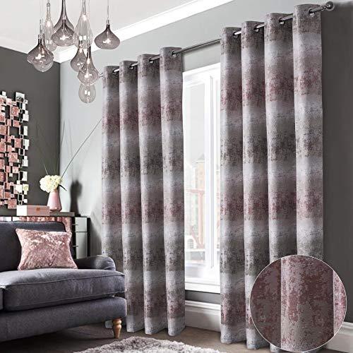 always4u Jacquard Vorhang Blickdicht mit ösen Farbverlauf Muster 2er Set Gardinen Wohnzimmer Modern Elegant Luxus Luxury Vorhänge Verdunkelung für Schlafzimmer Kinderzimmer Fenster H260×B140cm Rosa
