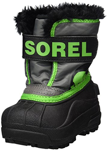 Sorel Toddler Snow Commander, Botas para Bebés, Gris (Quarry/Cyber Green), 21 EU