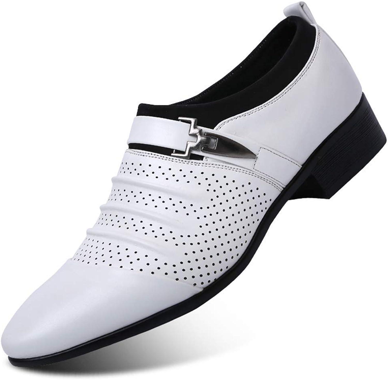 ZHRUI Men Hollow Out Oxfords Formal shoes Mens Leather Wedding shoes (color   White Hollow, Size   9=43 EU)